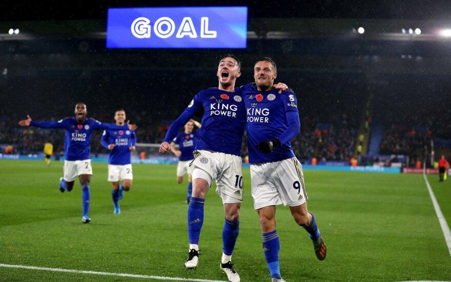 """""""Leicester"""" toliau nebarsto taškų – prikūlė ir """"Arsenal"""" klubą"""