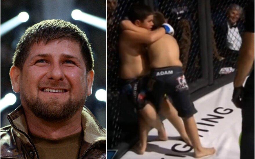 Ramzanas Kadyrovas ir jo sūnus MMA ringe (AFP-Scanpix nuotr., Stopkadras)