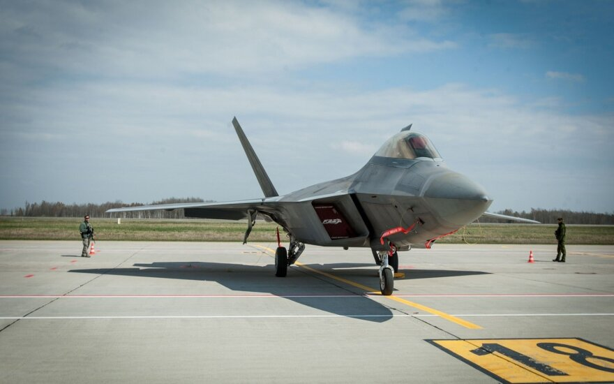 "Jet Fighter ""F22 Raptor"" in Zokniai airport"