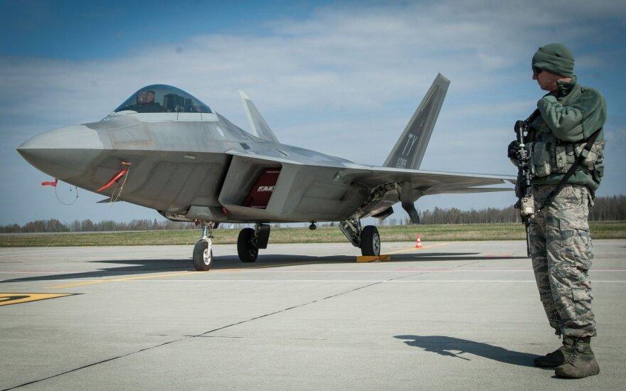 """F22 Raptor"" at the Zuokniai air port"