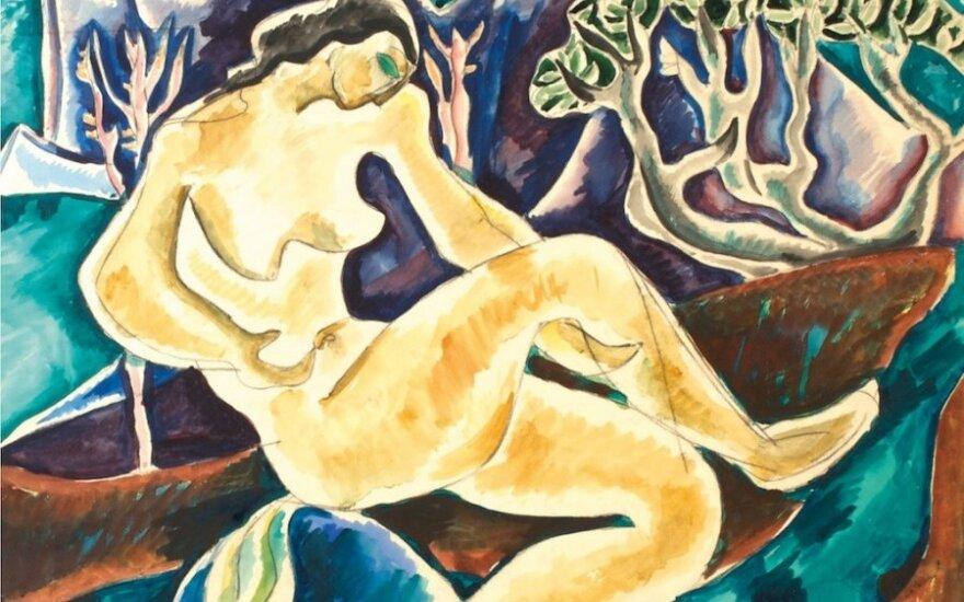 Teodoras Kazimieras Valaitis (1934–1974), Mauduolė kalnų papėdėje, ~1966, pop., piešt., akv., 57,5 x 59,5. Kūrinys reprodukuotas in: Teodoras Kazimieras Valaitis. Parodos katalogas (sud. G. Jankevičiūtė, Vilnius: LDM, VDA leidykla, 2014): 119