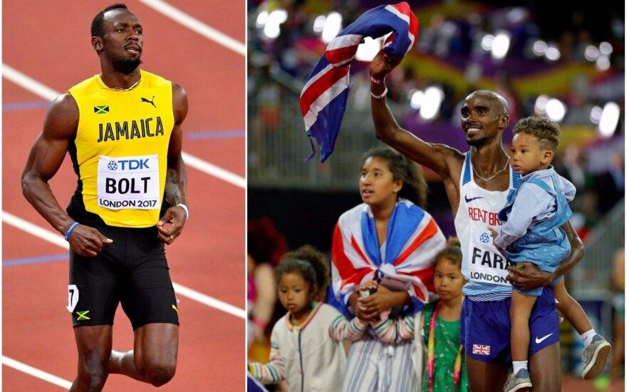 Usainas Boltas (kairėje) ir Mo Farah