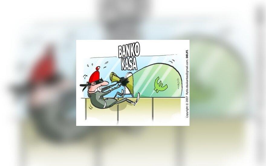 Bankas, apiplėšimas, vagystė - karikatūra