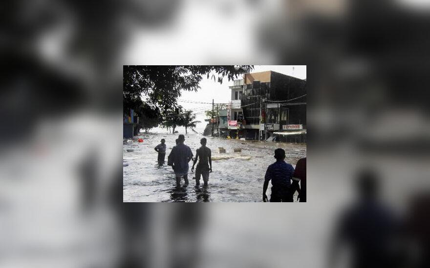Šri Lankoje užtvindytos gatvės