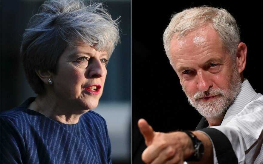 Theresa May ir Jeremy Corbynas