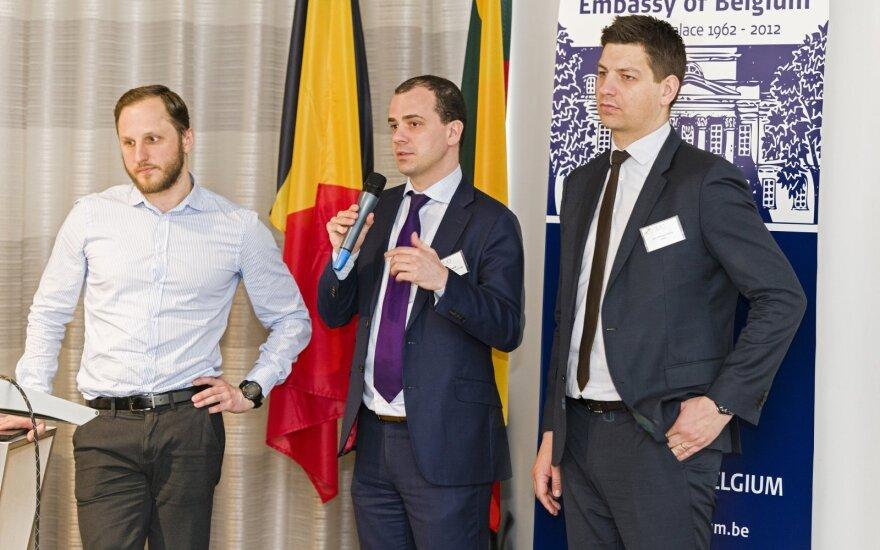FLTR Brolis'  Kristijonas Vizbaras, FIT's Thomas Castrel and AWEX's Jean-Philippe Schklar   Photo © Ludo Segers @ The Lithuania Tribune