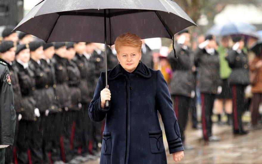 Dalia Grybauskaitė with the General P. Plechavičius school cadets in Kaunas