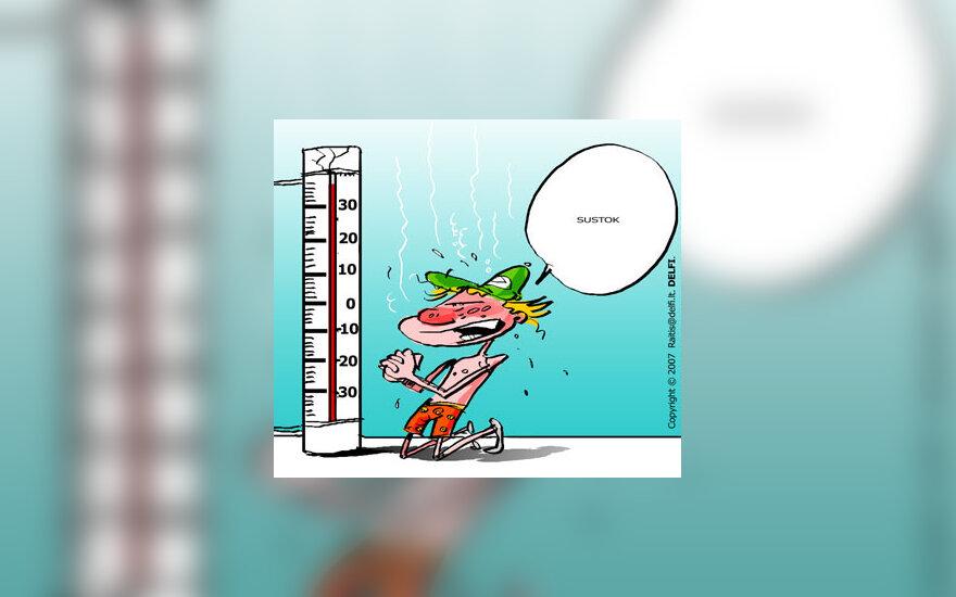 Oras, temperatūra, karštis, šiluma, termometras - karikatūra