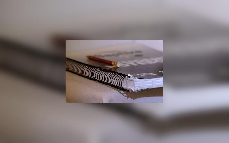 Sąsiuvinys, studijos, pieštukas, užrašai
