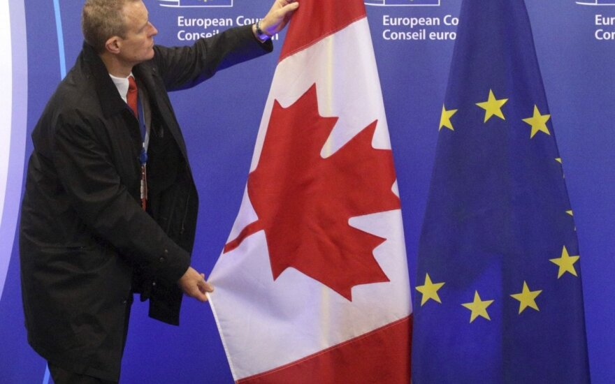 Canadian and the EU flags