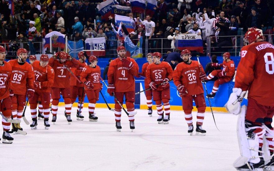 Olimpinių atletų iš Rusijos rinktinė sutriuškino JAV ledo ritulininkus