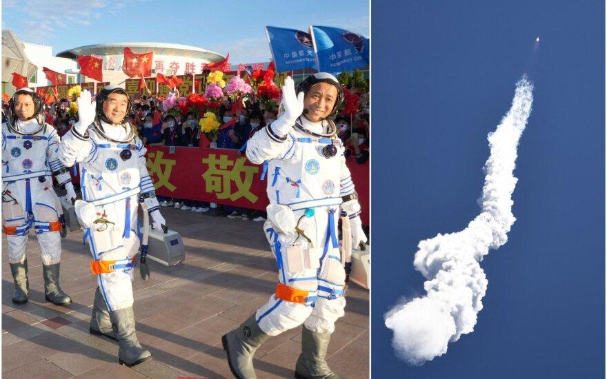 Kinijos astronautai išskrido į naująją kosminę stotį.