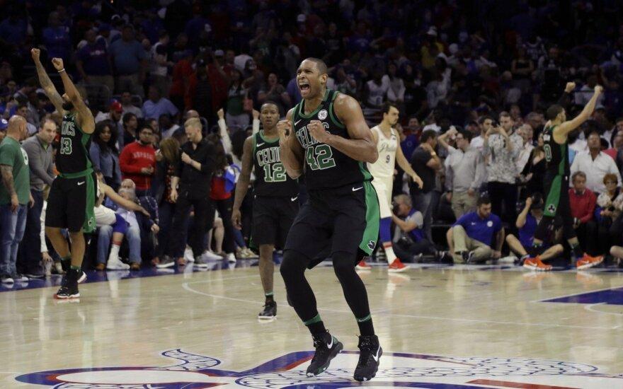 """Serijos favorite laikytai Filadelfijos ekipai – trečias iš eilės """"Celtics"""" smūgis"""