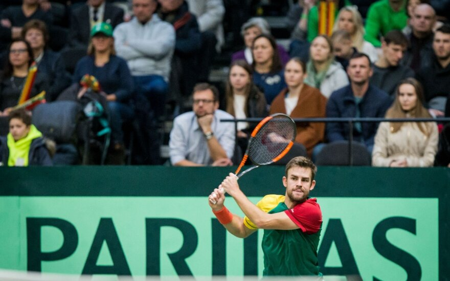 """Laurynas Grigelis Šiauliuose vykusiame """"Davis Cup"""" turnyre"""