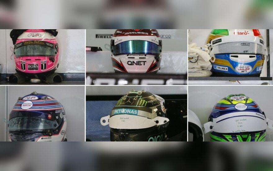 """""""Formulės-1"""" pilotų šalmai"""
