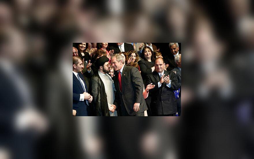 George'as Bush'as susitinka su arabų kilmės amerikiečiais
