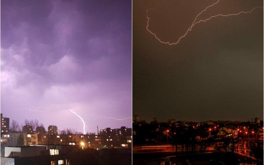 Skaitytojai fiksuoja: Lietuvos dangų skrodė pirmieji žaibai