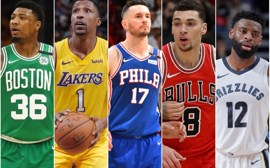 Marcusas Smartas, Kentavious Caldwell-Pope'as, JJ Redickas, Zachas LaVine'as, Tyreke'as Evansas
