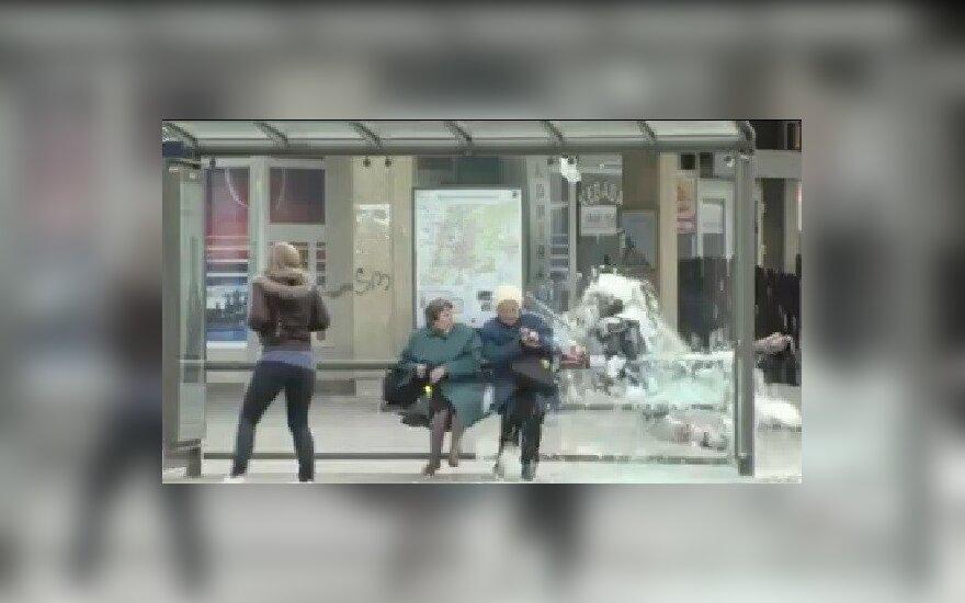 Chuliganas su ledo ritulininko apranga ant žmonių pažėrė paviljono stiklus