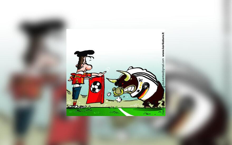 Europos futbolo čempionato finale susitinka Ispanija ir Vokietija - karikatūra