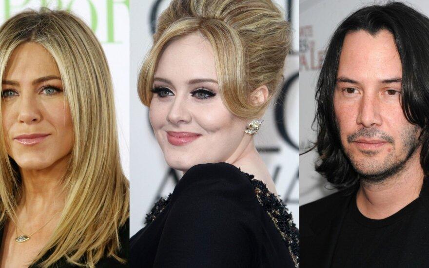 Jennifer Aniston, Adele, Keanu Reeves'as