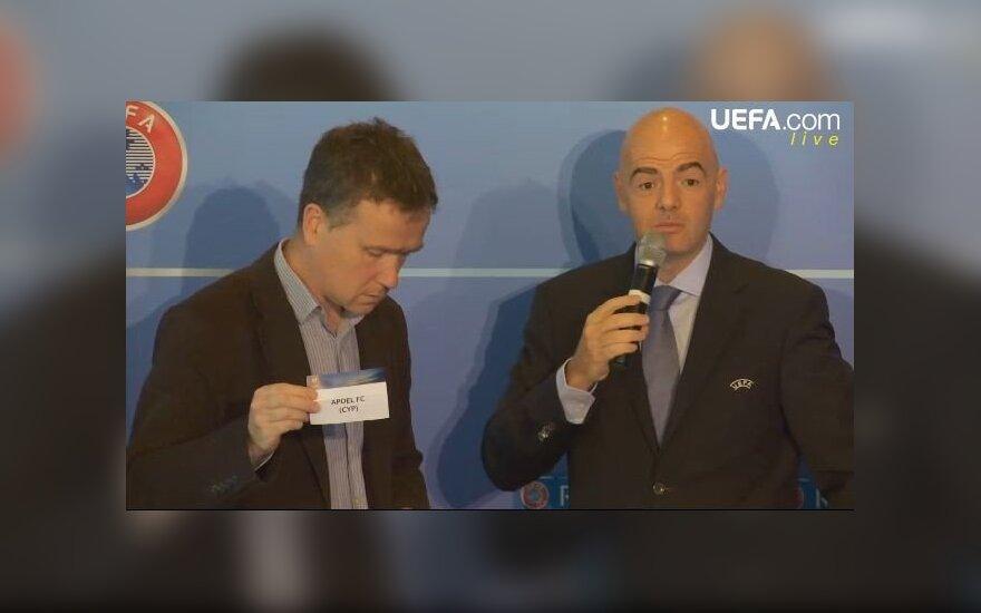 Airių žurnalistas ir UEFA generalinis sekretorius Gianni Infantino.