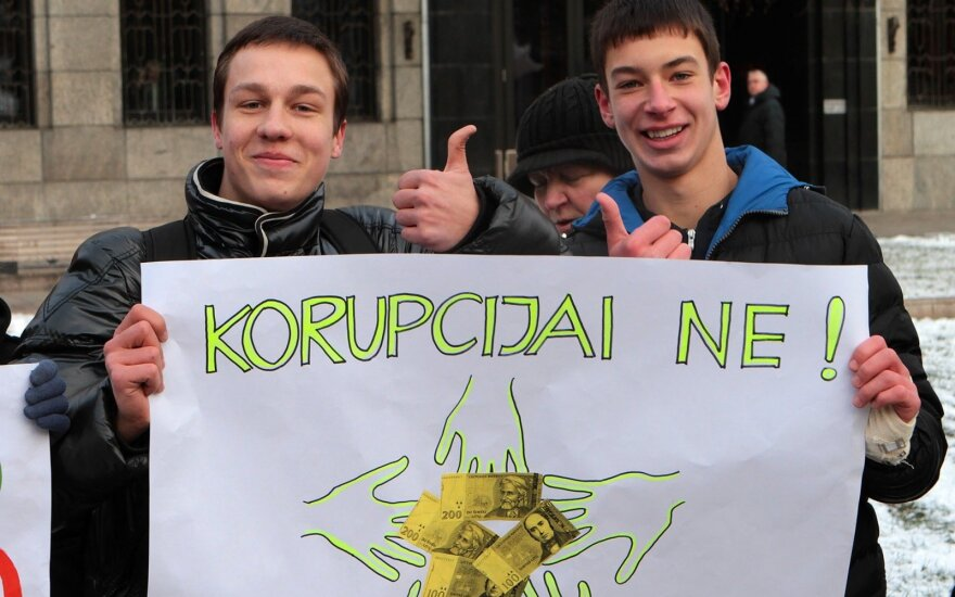 Kaunas' pupils protest against corruption