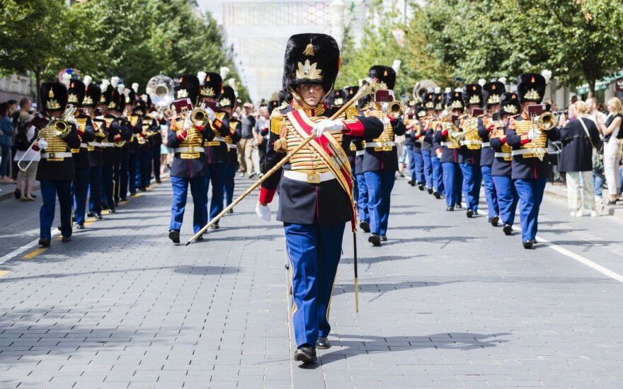 The Dutch Military Orchestra walking down Gediminas Prospect in Vilnius Photo © Ludo Segers @ The Lithuania Tribune