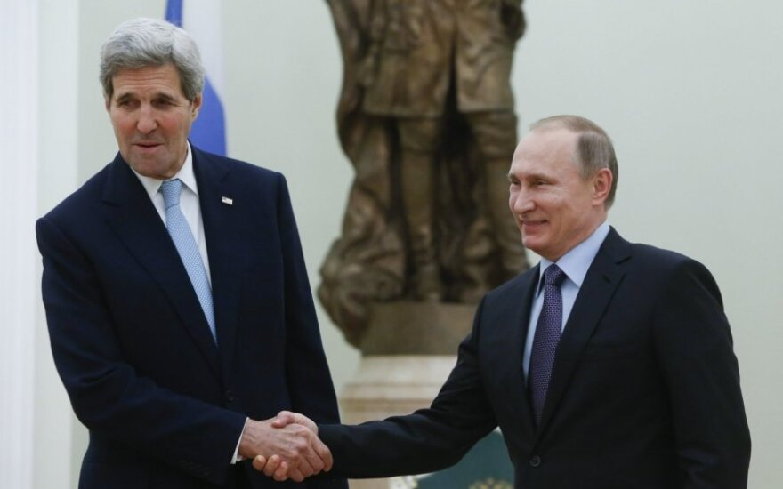 Vladimir Putin and John Kerry