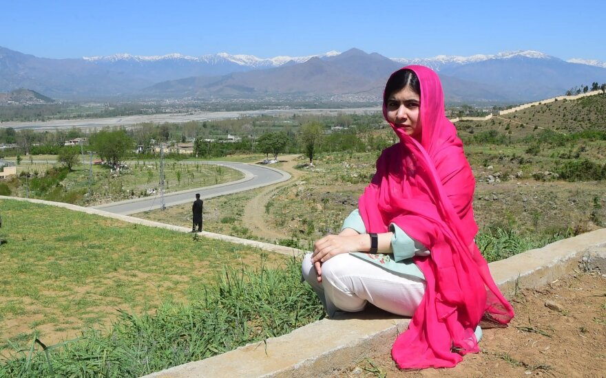 Pakistani activist and Nobel Peace Prize laureate Malala Yousafzai poses for a photograph at all-boys Swat Cadet College Guli Bagh, during her hometown visit, some 15 kilometres outside of Mingora, on March 31, 2018