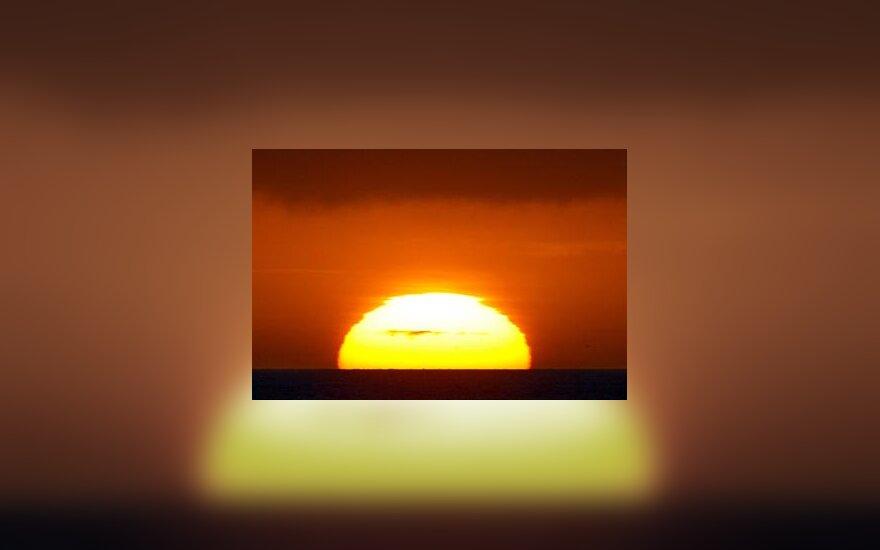 Saulė, vasara, vandenynas, atostogos, horizontas