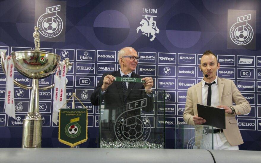 LFF taurės burtų traukimo ceremonija / FOTO: Justas Kontrimas/LFF.lt