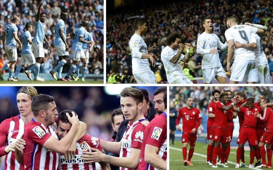 """""""Man City"""", """"Real"""", """"Atletico"""" ir """"Bayern"""" (AFP/Reuters)"""
