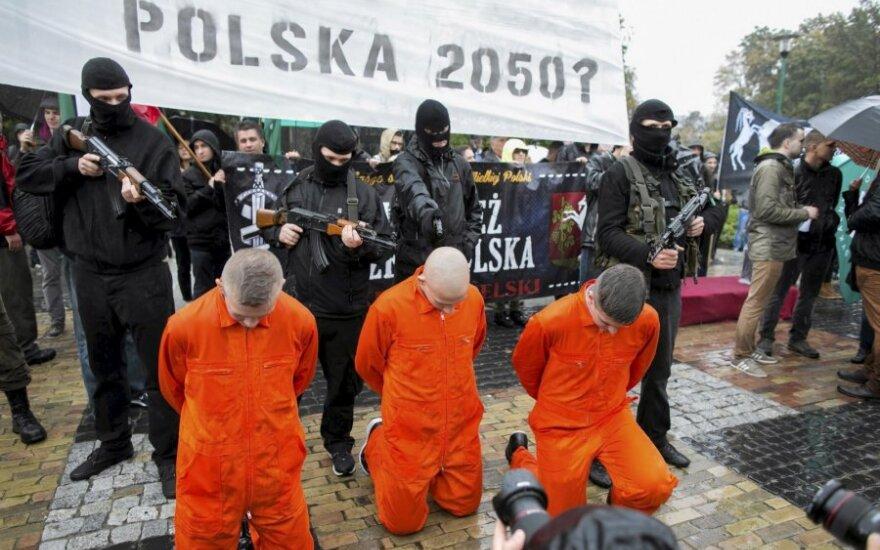 anti-imigracinė demonstracija Lenkijoje