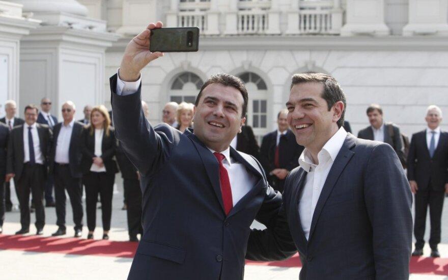 Graikijos ir Šiaurės Makedonijos lyderiai pasidarė istorinę asmenukę