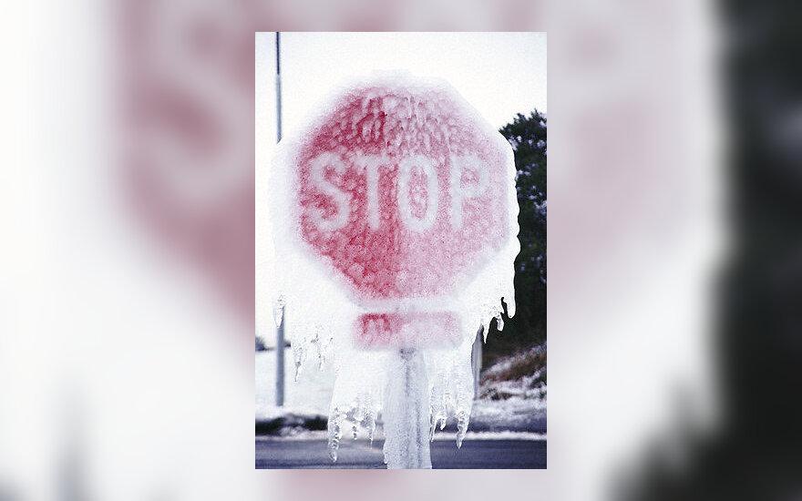 Žiema, sniegas, kelias, pūga, stop ženklas