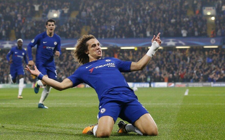 """Čempionų lyga: """"Chelsea"""" – """"Roma"""" mačo akimirka, Davidas Luizas"""