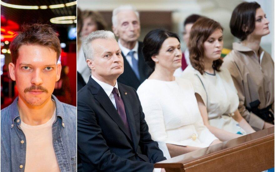 Kino režisierius Romas Zabarauskas ir prezidentas Gitanas Nausėda su šeima.
