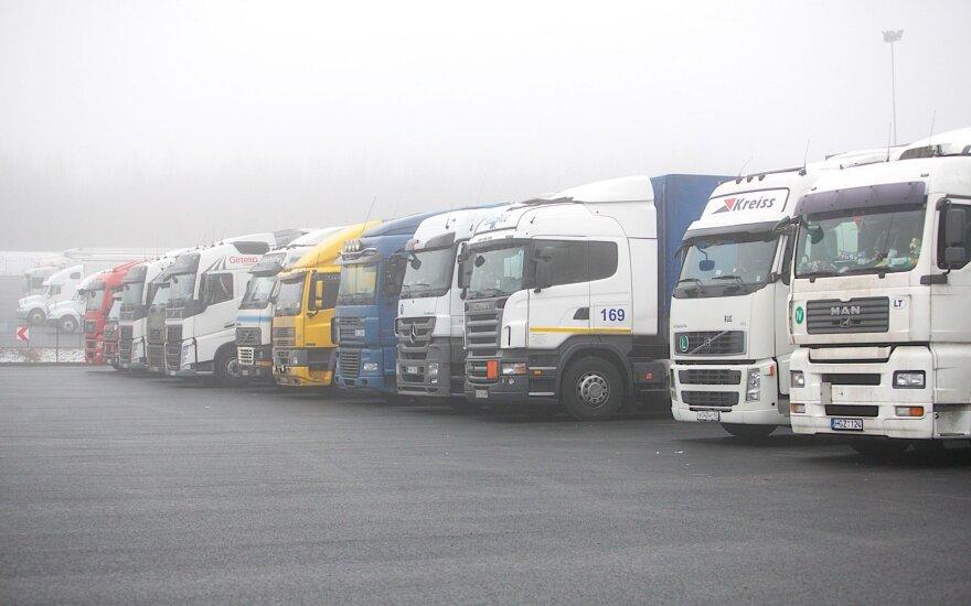 Trucks on the Belarussian border