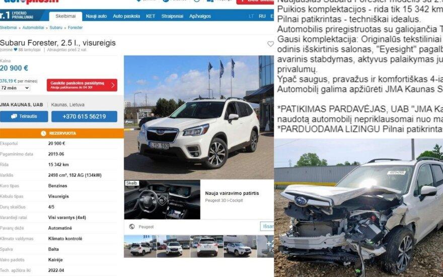 """Kaip reikiant nustebo: JAV sudaužytą automobilį atstovybė parduoda kaip """"techniškai idealų"""""""