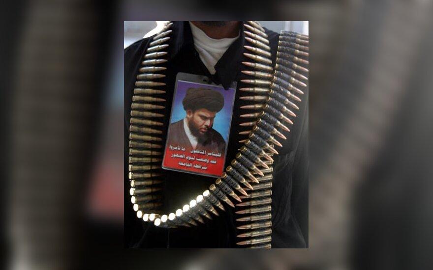Irakietis kovotojas su Moktados Sadro atvaizdu