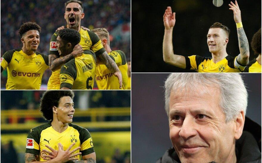 """Dortmundo """"Borussia"""", Paco Alcacer, Axel Witsel, Marco Reus, Lucienas Favre"""