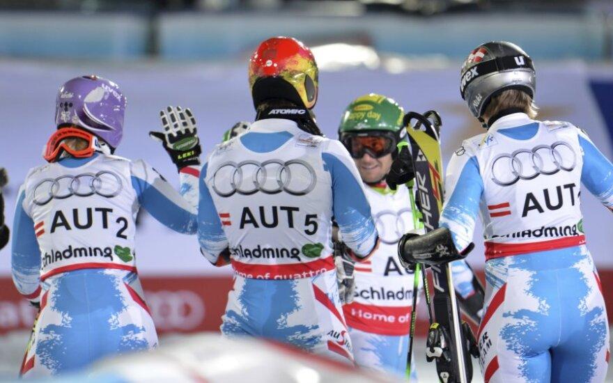 Pirmasis šeimininkų auksas planetos kalnų slidinėjimo čempionate Austrijoje