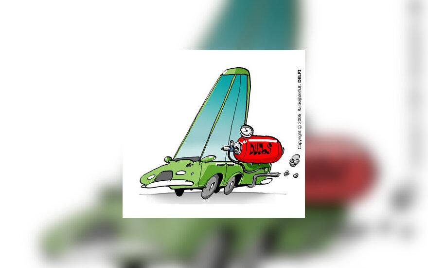Automobilis su dujine įranga, mašina - karikatūra