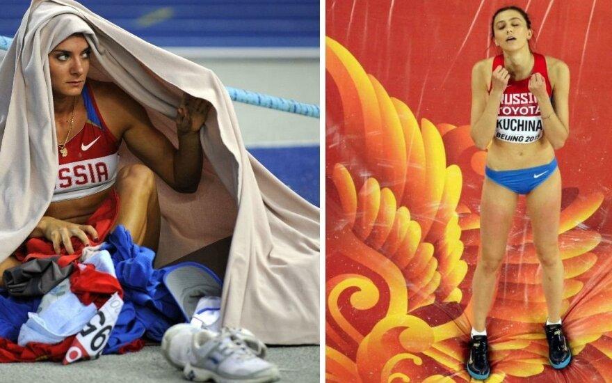 Jelena Isinbajeva ir Marija Kučina (AFP/Scanpix nuotr.)