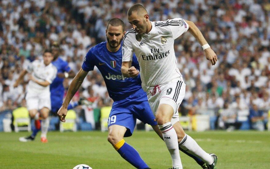 """Karimas Benzema (""""Real"""") ir Leonardo Bonucci (""""Juventus"""")"""