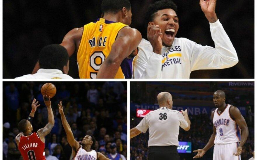 """NBA lygoje – šventinis """"Lakers"""" stebuklas ir D. Lillardo šėlsmas (Reuters ir AP nuotr.)"""