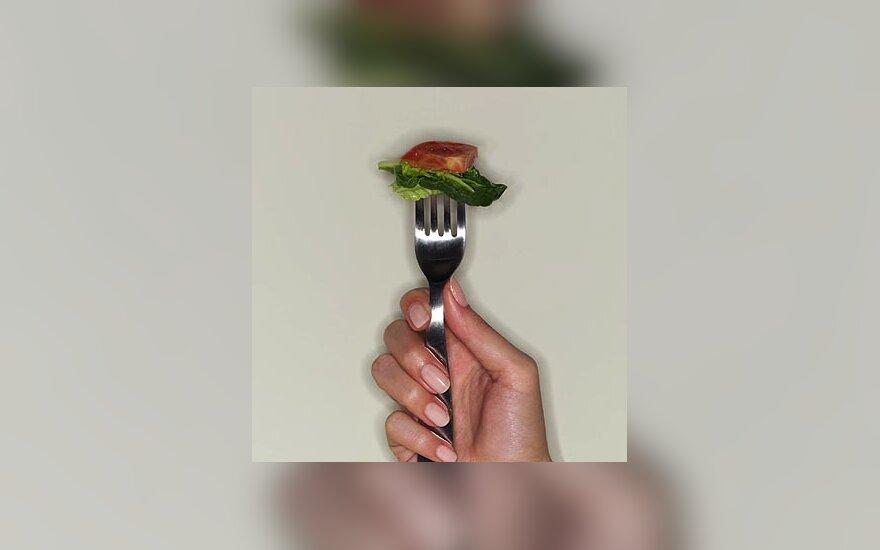 Maistas, alkis, kavinė, šakutė, daržovės
