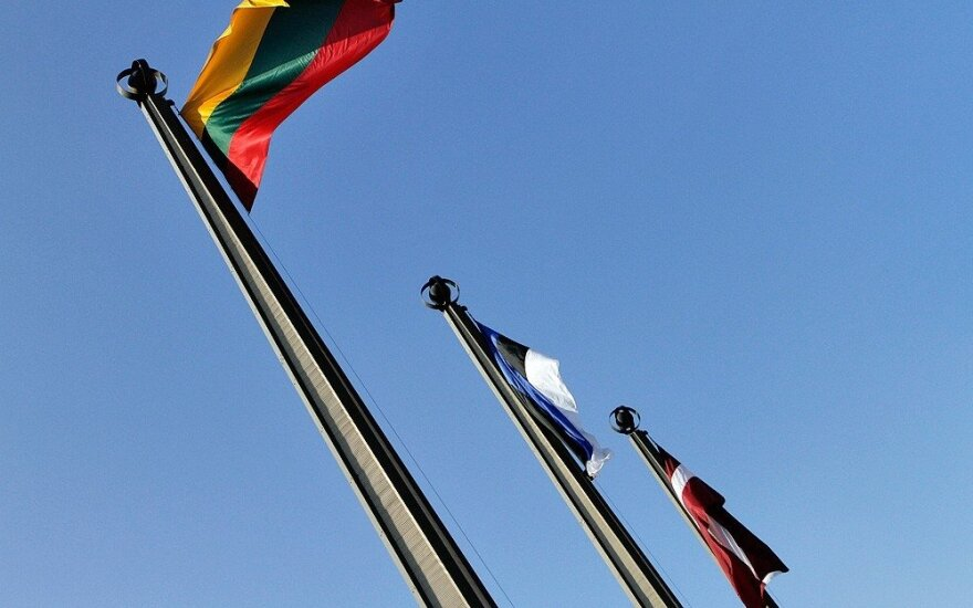 Flags of the three Baltic states