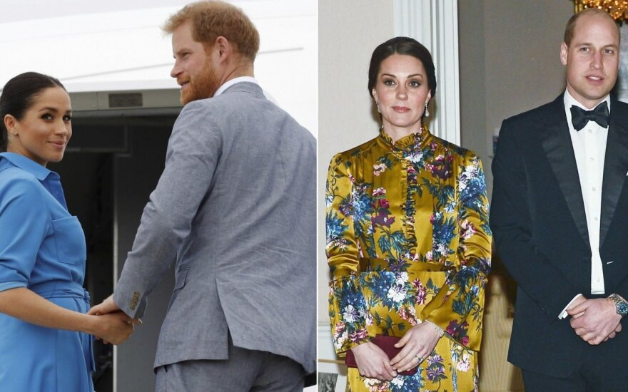 Princas Harry ir jo žmona Meghan Markle, princas Williamas ir jo žmona Kate Middleton